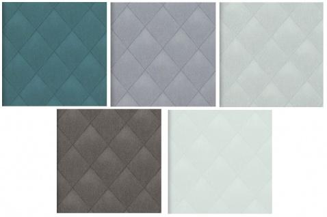 Vlies Tapete Rauten Muster Karo Caro Kariert textil optik petrol, braun, grau