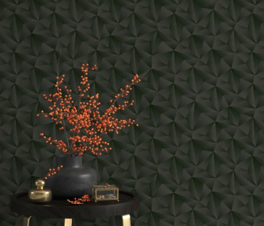 Vlies Tapete Design 3D Optik schwarz metallic schimmer geometrisch 10106-15