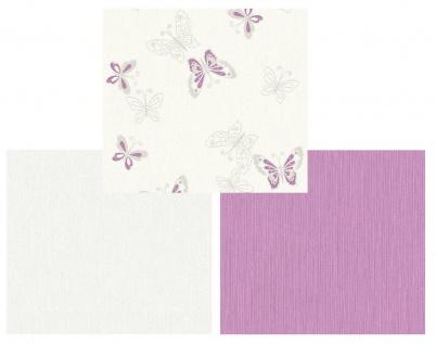 Vlies Tapete Schmetterlinge, Uni kombi creme weiß rosa flieder Girls