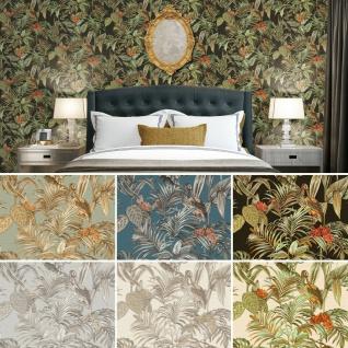 Design Vliestapete Floral Palmen Kranich Vögel textil Stickoptik versch. Farben