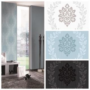 Vlies Tapete Barock Ornament Glitzer anthrazit schwarz pastell blau creme grau