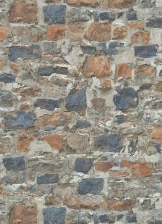 Vlies Tapete Bruchstein Mauer Naturstein brick terra blau grau braun 10092-04