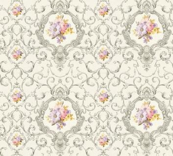 Vlies Tapete Ranken Barock Ornament Blumen silber grau bunt 34391-3 Chateau 5