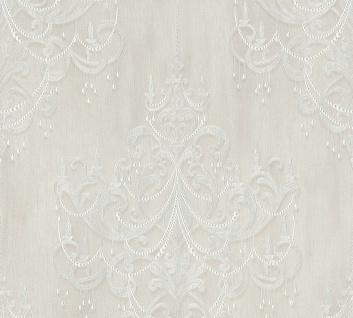 Vliestapete Kronleuchter Barock Ornament Perlen klassisch creme weiß 38096-2