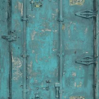 Vliestapete Stahl Container Optik petrol türkis verwittert patina 3201 Industrie