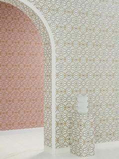 Versace 4 Vlies Tapete grafische Kreise Medusa weiß gold silber metallic 370492