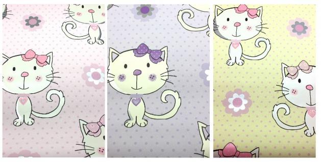 Vinyl Kinderzimmer Tapete Katzen Kätzchen Punkte Glitzer flieder rosa gelb