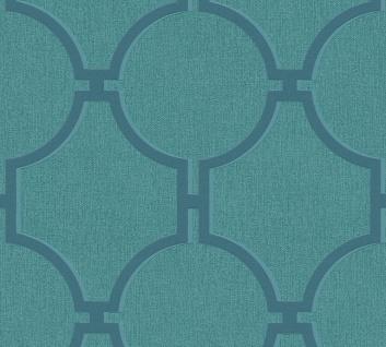 Vlies Tapete Vintage Grafik Kreise petrol blau grün 36149-6 Elegance 5th Avenue