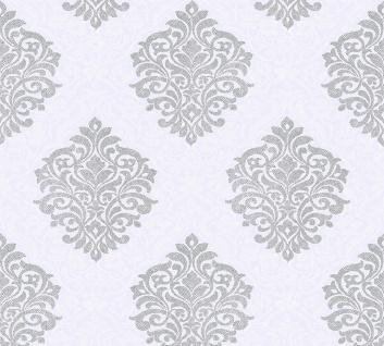 Vliestapete Barock Ornament silbergrau weiß glanz Architects Paper Alpha 32480-2