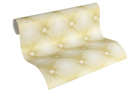 Luxus Vliestapete Leder Optik Chesterfield Diamant creme gold 34144-5 Hermitage