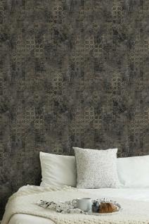 Vliestapete Beton Stein Optik grafisches Muster schwarz gold metallic 37424-6