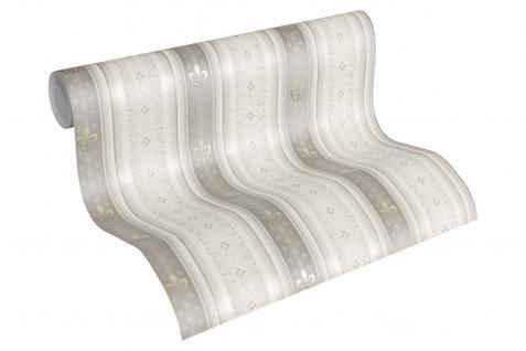Vliestapete Streifen Heraldik Lilie grau weiß metallic Ornamente glanz 33542-5