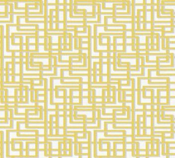 Labyrinth Muster Grafik Retro Vlies Tapete gelb grau weiß Palila 363124