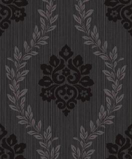 Vlies Tapete Barock Ornament Glitzer effekt glänzend anthrazit schwarz A23403