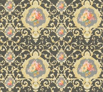 Vlies Tapete Ranken Barock Ornament Blumen schwarz gold glanz 34391-6 Chateau 5