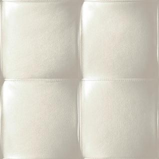 Vlies Tapete Design Leder Polster Optik creme weiß grau skin leather modern