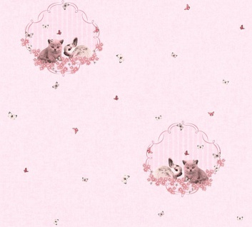 Vliestapete Kinder Hasen Katzen schmetterlinge rosa metallic Mädchen 35564-1