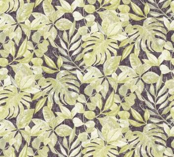 Vliestapete Floral Blätter grün schwarz Großrolle 10, 05 x 1, 06 m 36324-3 Aloha