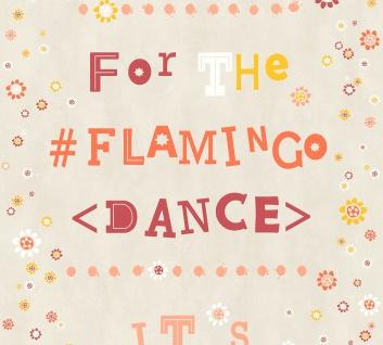 Vlies Tapete Blümchen Flamingo Dance Schrift grau orange gelb rot Cozz 36293-2