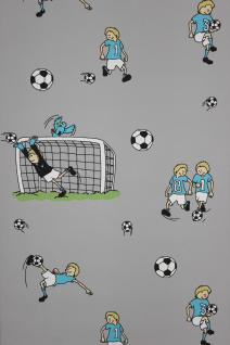 Vlies Tapete Fußball Kinder / Jungen Zimmer Fussball Tapete grau türkis grün
