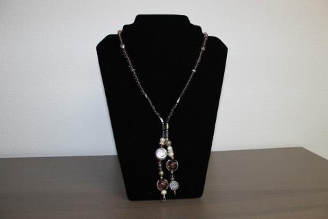 Halskette Magnet Y-Kette mit violetten Glaselementen 70 cm lang