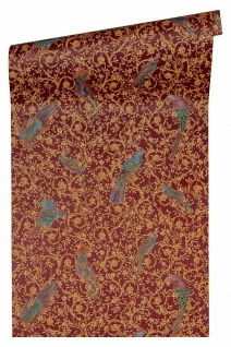 Versace 4 Vlies Tapete Ranken Ornament Papageien rot gelb lila metallic 370534