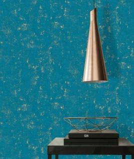 Vliestapete Stein Beton Optik petrol türkis gold metallic Betonmauer 230768