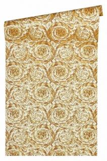Versace 4 Vlies Tapete Federn Ranken Kreis Ornament beige gelb metallic 366925