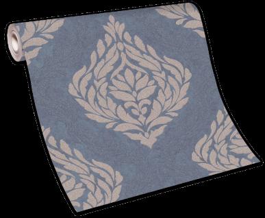 Vliestapete Carat Barock Ornament blau grau gold Glitzer 10060-44 / 1006044 - Vorschau 5