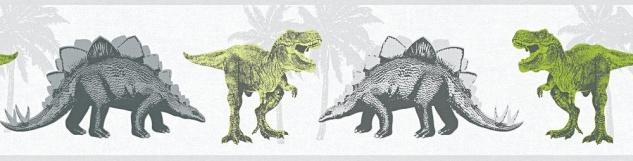 Tapeten Bordüre Kinder Dinosaurier Dinos T-Rex weiß grau grün 35836-1