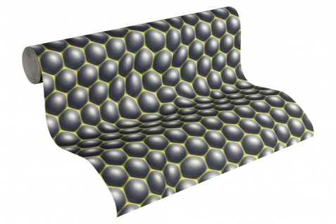 Vliestapete Retro 3D Kugeln Blasen Muster grau grün Design by Mac Stopa 32720-1