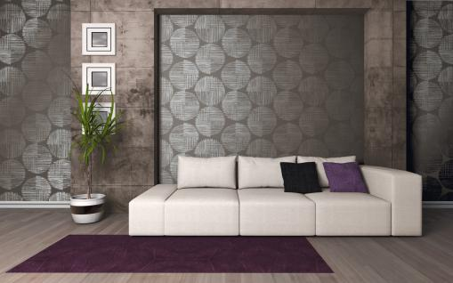 Vlies Tapete Retro Design Kreise grau silber glänzend Spot abstrakt metallic