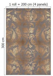 Vlies Foto Tapete Wandbild Barock Muster Ornament Braun Beige Gold 200x300  Cm   Vorschau 2