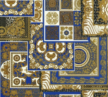 Versace 4 Vlies Tapete Patchwork Ornament Kacheln blau gold metallic 370481