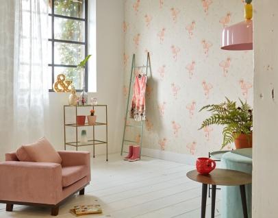 Vlies Tapete Flamingo Hut Blumen creme beige grün gelb orange rosa Cozz 36291-1
