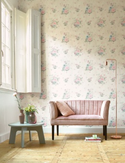 Vlies Tapete Blumen Karo Muster grafisch rosa grün beige 35873-1 Djooz 2