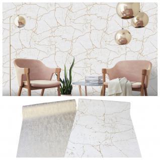 Vlies Tapete Beton Stein Kintsugi Optik creme beige / Uni weiß gold metallic