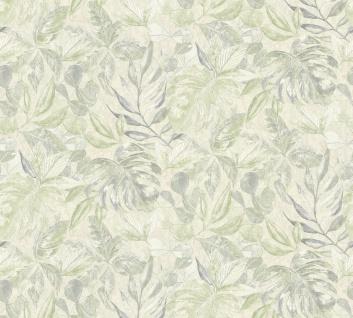 Vliestapete Floral Blätter Glitzer creme grün Großrolle 10, 05 x 1, 06 m 36324-5