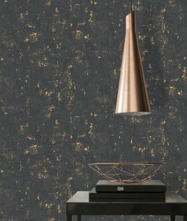 Vliestapete Stein Beton Optik schwarz gold metallic Betonmauer 230782