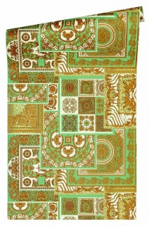 Versace 4 Vlies Tapete Patchwork Ornament Kacheln grün gold metallic 370482