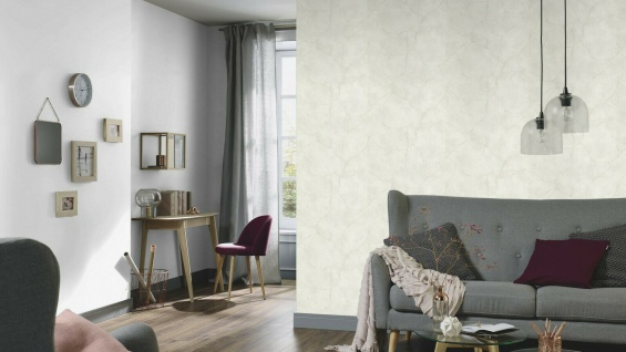 Vliestapete Beton Optik Marmor Struktur Stein Wand weiß grau creme 6323-26