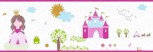 Tapeten Bordüre Schloss Prinzessin Froschkönig weiß pink gold 35853-2 girls