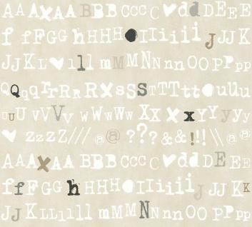 Vlies Tapete Buchstaben Schrift Satzzeichen Alphabet beige grau Cozz 36298-3