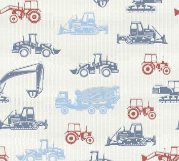 Esprit Kids 5 Vliestapete Baustelle Lkw Traktor blau rot grau 35706-2 / 357062