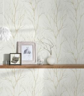 Vliestapete Floral Natur Äste Zweige weiß gold metallic 372603