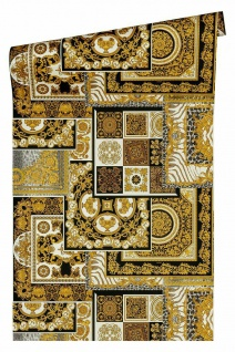Versace 4 Vlies Tapete Patchwork Ornament Kacheln schwarz gold metallic 370483