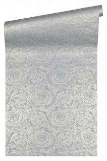 Versace 4 Vlies Tapete Federn Ranken Kreis Ornament silber grau metallic 366924
