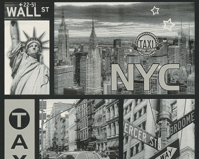 Vinyl Tapete New York Stadtmotiv Taxi Wallstreet silber grau City NYC Wallpaper