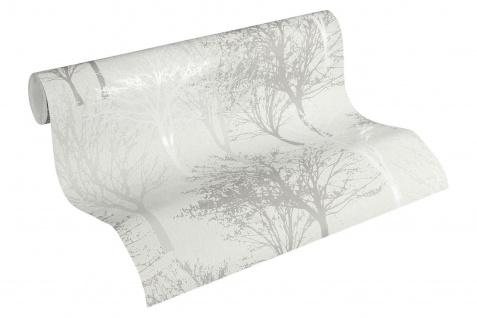Vlies Tapete Baum Bäume Natur creme grau glanz 36147-1 Elegance - 5th Avenue