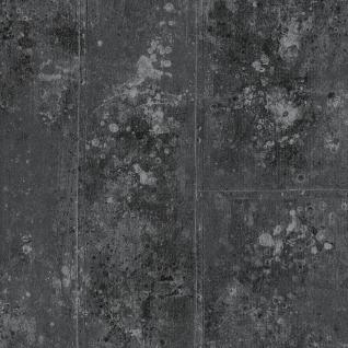 Vlies Tapete Beton Optik Stein Wand struktur anthrazit grau silber metallic